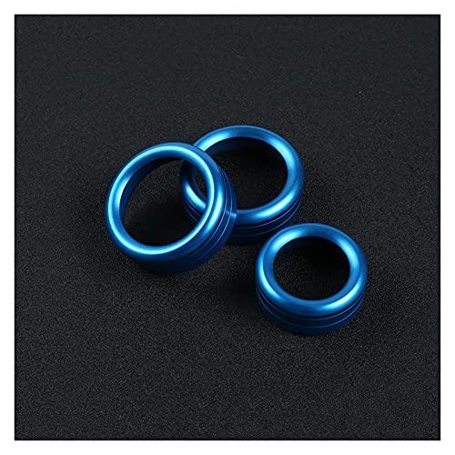 YYAN Coche Aire Acondicionado Perilla Interruptor Botón Decoración Anillo Ajuste para Alfa Romeo Giulia Stelvio Decoración Interior Accesorios (Color Name : Blue 3PCS)