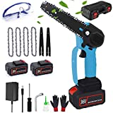 6-Inch Small Electric Chainsaw Cordless, 36v/4000mAh Rechargeable Battery Power Chain Saws, Mini Portable One-Hand Tree Saw with 2 Batteries and 4 Chains for Wood Cutting Branch Pruning Tools,blue
