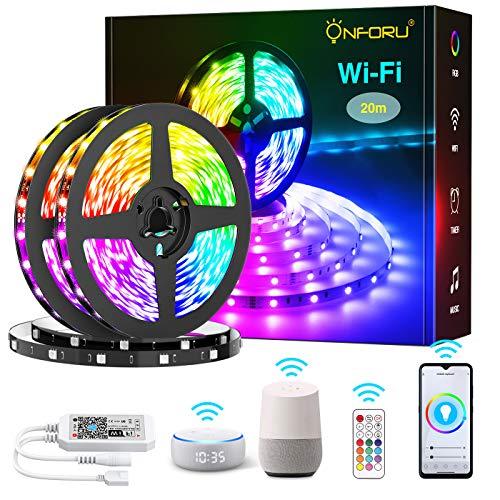 Onforu 20M Alexa Striscia LED, WIFI Striscia Intelligente Compatibile con Google Home, 600 Perle Led Smart Striscia RGB con Telecomando e Sincronizzazione da Musica per Giardino, Bar, Festa, Cucina