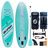 AKSPORT 10'6'×30'×6' Inflatable Stand Up Paddle Board with Premium Non-Slip Deck,Travel Backpack,Adjustable Paddle,Pump,Leash for Youth & Adult Ultra-Light Surfing ISUP