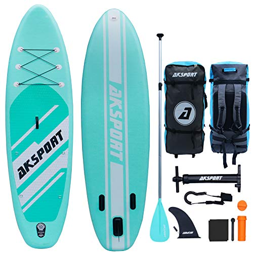 "AKSPORT 10'6""×33""×6"" Inflatable Stand Up Paddle Board with Premium Non-Slip Deck,Travel Backpack,Adjustable Paddle,Pump,Leash for Youth & Adult Ultra-Light Surfing ISUP"
