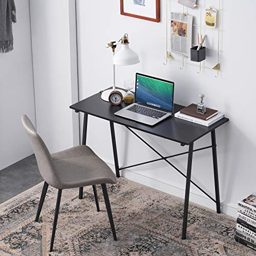 HJhomeheart Computertisch Kleine Bürotisch Arbeitstisch Tisch Schreibtisch Einfache Schreibtisch Klein Schwarz, Tisch Gaming Holz Schreibtisch 100 x 48 x 74 cm