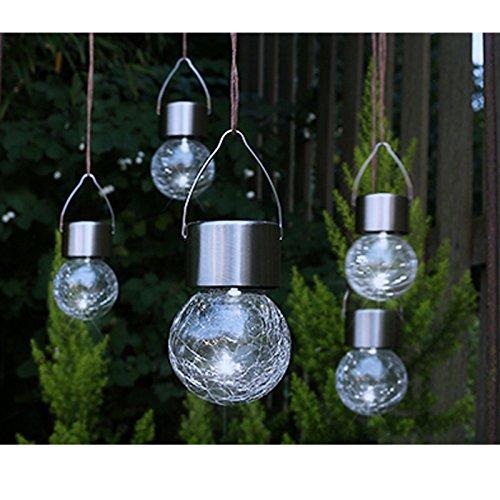 Solar Hängelampe in Bruchglas-Optik aus Edelstahl, 5-teilig • LED Hänge Leuchte Garten Lichter Lampe Kugel Glas Crackle Beleuchtung Deko