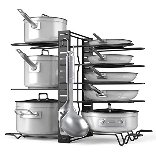 Pot Rack Organizer-Adjustable 8+ Pots and Pans Oragnizer, Kitchen Counter and Cabinet Pot Lid Holder with 3 DIY Methods (6 Hooks Included)