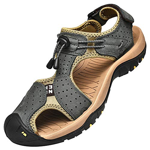 rismart Herren Closed Zu Draussen Sport Trekking Schuhe Leder Sandalen SN1505(Dunkel Grau,48 EU)