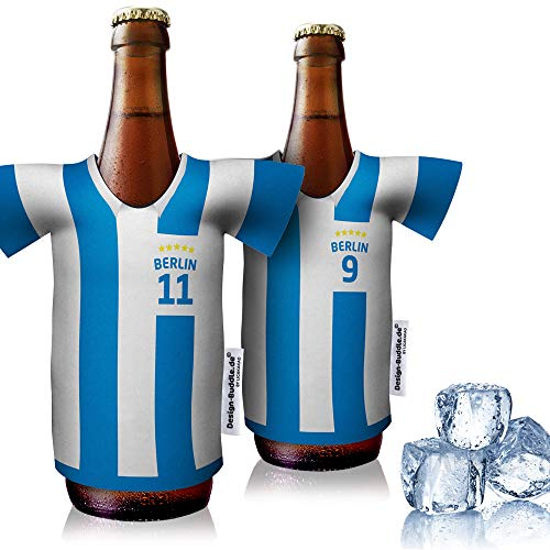 vereins-Trikot-kühler Home für Hertha BSC Fans   2er Fan-Edition  2X Trikots   Fußball Fanartikel Jersey Bierkühler by ligakakao.de