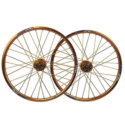 TYXTYX Ejes de liberación rápida Accesorio para Bicicleta BMX Juego de Ruedas de Bicicleta de 20 Pulgadas Llanta de aleación de Doble Pared Freno de Disco QR 8/9/10 Buje de Tarjeta de Velocidad par