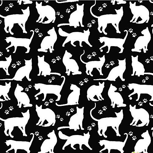 Pingianer 8,98€/m Katze 100% Baumwolle 50x160cm Baumwollstoff Meterware Handwerken Nähen Stoff (Katze Silhouette Schwarz Weiß)