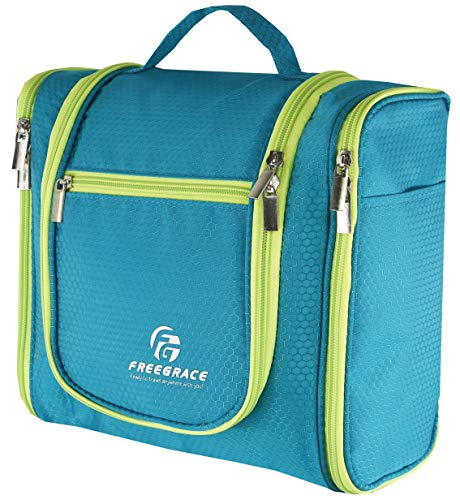 Hanging Toiletry Bag By Freegrace -Premium Large Travel Essentials Organizer -Durable Metal Hook - For Men & Women -Perfect For Accessories, Cosmetics, Personal Items, Shampoo, Body Wash (Green)