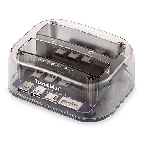Tccmebius USB 3.0 a SATA Dual Bay Esterno Docking station per Disco Rigido con USB 3.0 Hub e Lettore di Schede, per 2,5 3,5 Pollici SATA HDD SSD, Supporto USAP, Clone offline 10TB×2 (TCC-S866-DE)