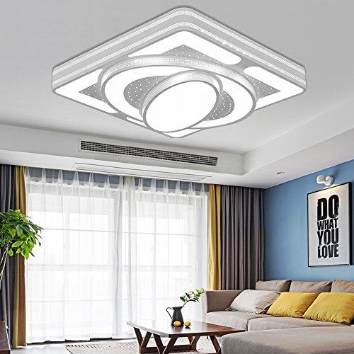 LED Wohnzimmerlampe Deckenleuchte Wohnzimmer 54W 6000K 4860LM, Design Deckenlampe Für Schlafzimmer Balkon KücheFlur Badezimmer, Super Helle, 400×400×80 mm Weiß