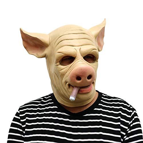 N/P Latex Horror Schweinemaske Unisex Halloween Kostüm Scary Saw Schweinemaske Vollkopf Horror Evil Animal Prop OneSize Pink