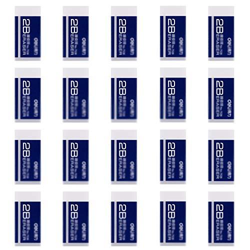 Ziyero 20 Stück Radierer plastic mini weiß text radiergummi Weicher 2B-Radierer Sehr gut geeignet für den universellen Einsatz in Schulen, Skizzen, Gemälden, bildenden Künsten, Wohnungen und Büros