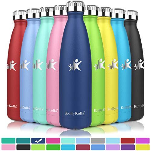 KollyKolla Vakuum Isolierte Edelstahl Trinkflasche, 500ml BPA Frei Wasserflasche Auslaufsicher, Thermosflasche für Kinder, Schule, Mädchen, Sport, Outdoor, Fahrrad, Büro, Fitness (Voll Dunkelblau)