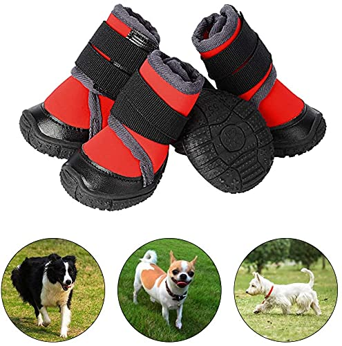 PETLOFT Botas para Perros, 4pcs Antideslizante Botas Perro con Correa de Cierre Adjustable para Perros Pequeños Medianos Grandes, Fácil de Poner Perro Protector Pata (XXS, Rojo)