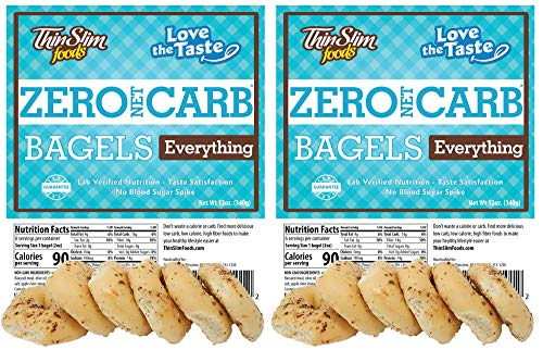 ThinSlim Foods Keto Low Carb Bagels - Everything, 2 Pack (6 Bagels Each)