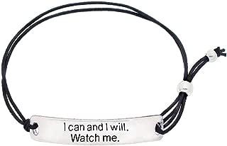 Jewelry Inspirational Motivational Stretch Bracelet - with Engraved Plaque & Black Elastic
