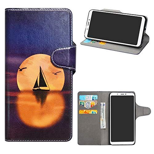 BQ Aquaris C Leder hülle,HHDY Painted Muster Wallet Handyhülle mit Kartenfächer/Standfunktion Hülle Cover für BQ Aquaris C,Sailboats und Moon