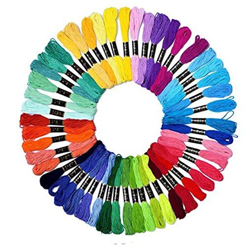 DYSCN 15 Farben Regenbogenfarbe Stickgarn - Kreuzstichfäden - Freundschaftsarmbänder Zahnseide - Bastelseide für handgefertigte Nähzubehörteile