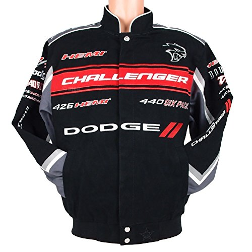 Dodge Challenger Collage Mens Black Twill Jacket by JH Design (XL)