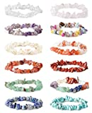 LOYALLOOK 8-12Pcs Natural Gemstone Chakra Crystal Healing Chip Gemstone Stretch Bracelets Tumble Polished Align Chakras/Conquer Fear/Increase Communication Reiki