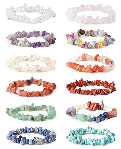 LOYALLOOK 8-12Pcs Natural Gemstone Chakra Crystal Healing Chip Gemstone Stretch Bracelets Tumble Polished Align Chakras/Conquer Fear/Increase Communication Reiki