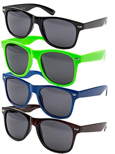 Ciffre 4 er Set EL-Sunprotect® Nerdbrille Brille Nerd Sonnenbrille Hornbrille Way Blau Schwarz Neongrün Braun