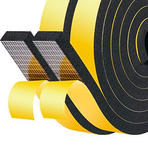 Türdichtung Dichtungsband 20mm(B) x8mm(D) für Fenster Selbstklebend Schaumstoff Gummidichtung für Kollision Siegel Schalldämmung Gesamtlänge 4M (2 Rollen je 2m lang) Schwarz