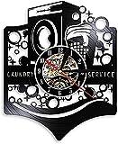 SHILLPS Lavandería Retro Reloj de Pared con Disco de Vinilo Lavadora Cesta de lavandería Servicio de lavandería Decoración de la casa Lavandería Arte de la Pared Iluminación NO LED