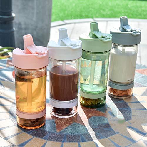 laoonl Taza doble para bebida, taza creativa para bebidas, diseño de apertura de doble tubo, diseño creativos, botella de agua de doble uso, para acampar al aire libre, correr