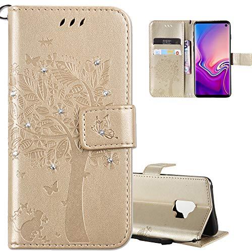 COTDINFOR LG X Power Case Premium PU Custodia in Pelle Cash Pocket Flip Custodia a Portafoglio Chiusa con Slot per Carta di Credito per LG X Power Gold Wishing Tree with Diamond KT.