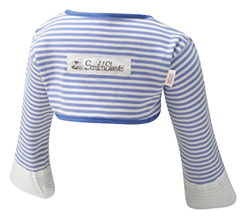 ScratchSleeves | Baby Boys' Stay-On Scratch Mitts Stripes | Blue and Cream | 3 to 6 Months