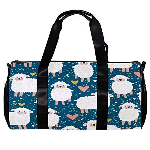 Bolsa de deporte redonda con correa de hombro desmontable para bebé, ovejas, corazón blanco, estrellas, azul marino, bolsa de entrenamiento para mujeres y hombres
