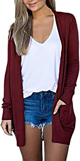 Fankle Women's Basic Open Front Long Sleeve Soft Knit Cardigan Sweater Lightweight with Pockets Solid Color