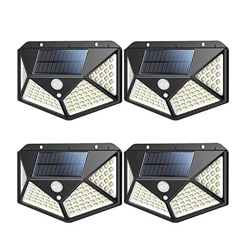 Hsility solarleuchten für außen 100 LED Bewegungssensor Sicherheitsleuchten Solar Wandleuchten 270º Solarbetriebene Leuchten Wasserdicht mit 3 Modi für den Außenbereich (4er Pack)
