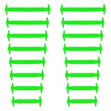 Xunits Elastische Silikon Schnürsenkel neon-grün, flach Schleifenlose Schuhbänder in 13 (neon) für Kinder & Erwachsene