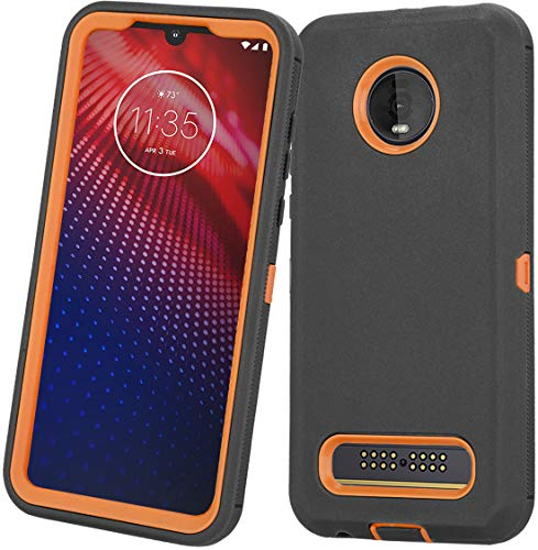 Moto Z3 Case, Moto Z3 Play Case, Heavy Duty with [Built-in Screen Protector] Tough 3 in1 Rugged Shorkproof Armor Cover for Motorola Moto Z3/ Z3 Play (Black/Orange)