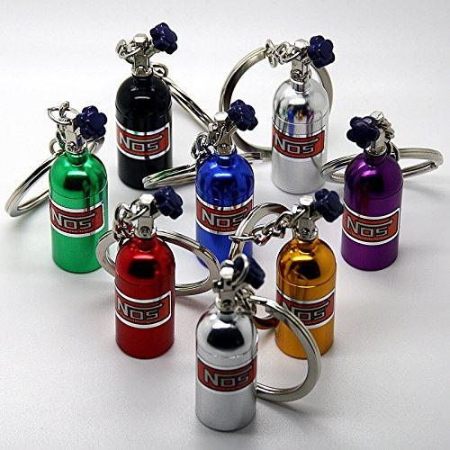 LED-Mafia Luxus Schlüsselanhänger aus Metall - NOS Gasflasche Black Gold rot grün blau Chrom - Metall Auto Boost Anhänger Schlüsselring Etui Schlüssel (blau)