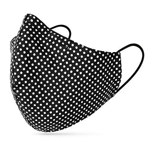 tanzmuster ® Behelfsmaske waschbar für Erwachsene - 100% Baumwolle OEKO-TEX 100 mit Nasenbügel und Filtertasche - Community Maske wiederverwendbar 2-lagig in Polka-Dots schwarz Größe M Erwachsene