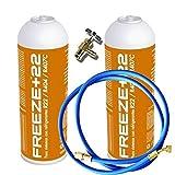 REPORSHOP - 2 Botellas Gas Ecologico Refrigerante Freeze +22 400Gr + Valvula + Manguera Organico Sustituto R22, R404, R407C