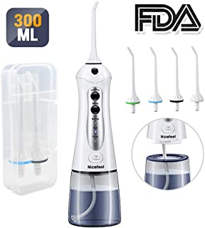 Cordless Water Flosser Teeth Cleaner, Nicefeel 300ML USB Rechargeable and Portable Oral Irrigator with Tips Case for Travel, 3-modes IPX7 Waterproof Water Dental Flossing with 4 Jet Tips for Home
