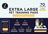 PawFam XL Fresh Scent Puppy Dog Training Pads, 6 Layer Protection, Adhesive Tabs, 34'x28' - 70 Count