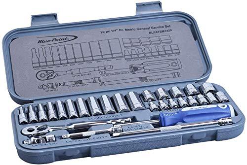 Ensemble de douilles 29 pièces en chrome-vanadium, ensemble de douilles à prise 1/4, avec une clé à cliquet réversible, avec une clé à cliquet réversible, à utiliser ensemble, idéal pour le bricolage