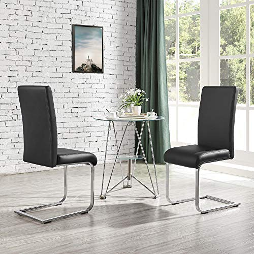 Yaheetech 4pcs Dining Chairs Armless Dining/Desk Room Kitchen Chairs PU Leather Upholstered Seat and Metal Legs Side Chairs with High Back Modern, Black