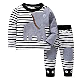 K-youth Ropa Beb Recin Nacido, Ropa Bebe Nio Camisetas de Manga Larga Tops de Elefante y Rayas Pantalones Conjuntos Otoo/Invierno 0-24 Meses(Blanco, 6-12 Meses)