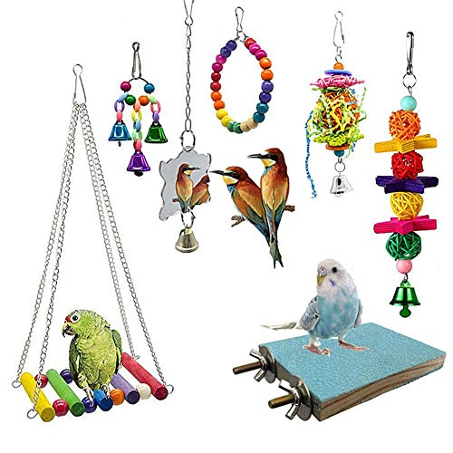WPCASE Agapornis Juguetes para Pajaros 7 Piezas Juguetes para Loros De Aves Espejo De Pájaro Juguetes De Campana De Hamaca con Jaula Colgante