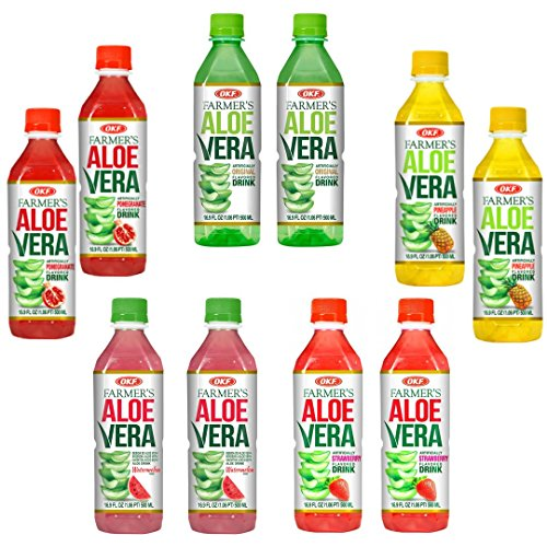 OKF Farmer's Aloe Vera Drink Flavored Variety Pack - Original, Pomegranate, Pineapple, Strawberry, Watermelon Flavored Aloe Drinks (16.9oz/500ml Bottles 10 Count)