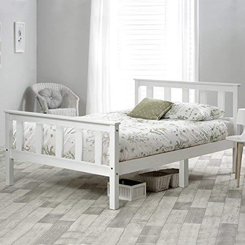 Cama, cama doble, marco de cama individual de madera, madera de pino macizo, cabecero, muebles de dormitorio de extremo de pie alto, cama individual, 190x90 cm (blanco)