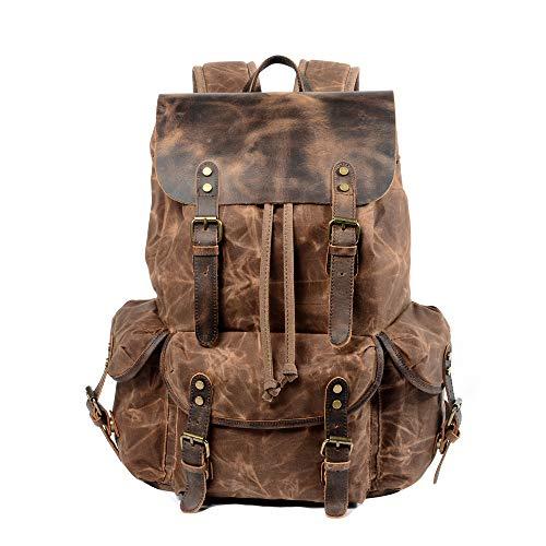WUDON Leder-Rucksack für Herren, gewachstes Segeltuch, Schulterrucksack für Reisen, Schule, coffee (Braun) - 1