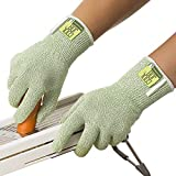 COOLJOB Cut Resistant Gloves, Bamboo Cut Proof Work Gloves, Food Grade Protection Cutting Gloves for Kitchen Cooking, Bamboo Green Large Oversize(1 pair L)